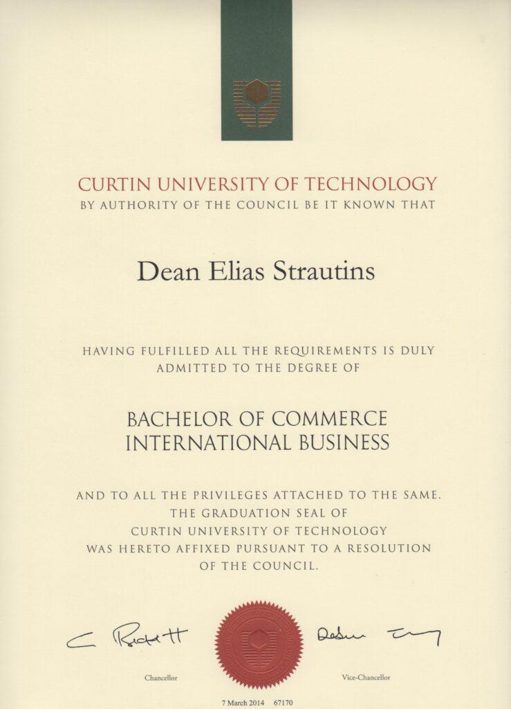 Dean Strautins Bachelors Degree